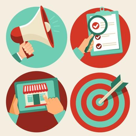 Vektor-Business-Konzepte in Flach trendigen Stil - Werbung und Verkaufsförderung, Online-Shopping und zielgerichtetes Marketing Standard-Bild - 25996710