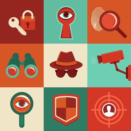 big brother spy: Vector surveillance and control concepts - trendy icons in flat style Illustration