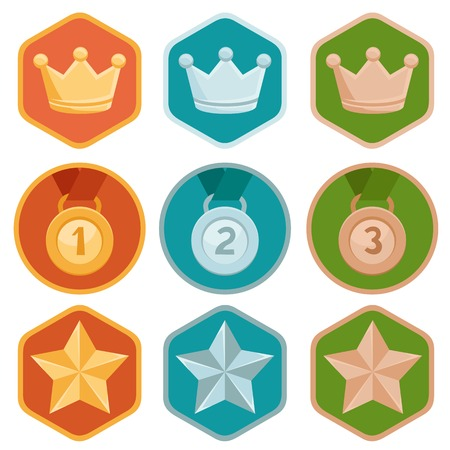 Vector gamification icons in flat trendy style - three winning places in gold, silver and bronze - crown, medal and star Vector