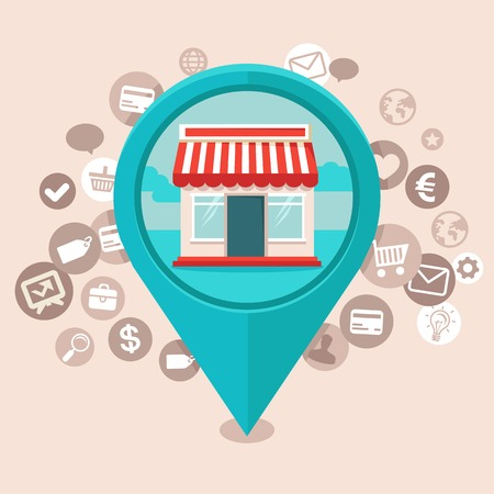internet store: Vector e-commerce concept in flat style - geo targeting icons - online shopping