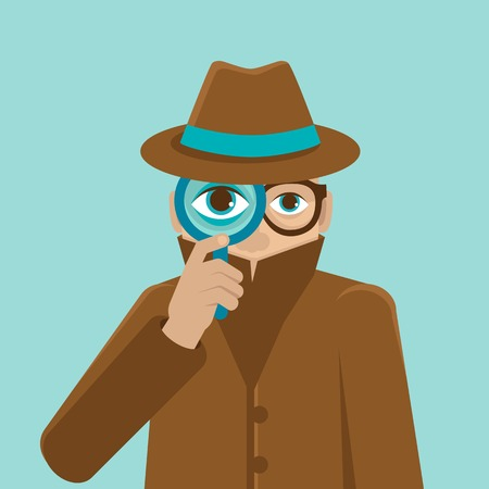 inspeccion: Vigilancia y control vectorial concepto - Ilustraci�n detective de estilo plano - hermano mayor le est� mirando Vectores
