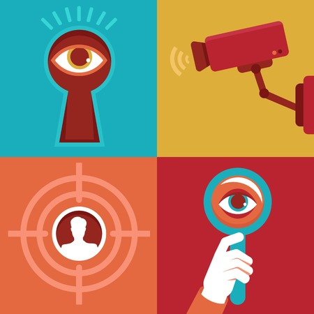 Vector surveillance and control concepts - trendy icons in flat style Vector