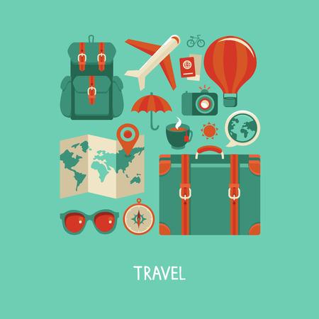 벡터 아이콘과 평면 스타일의 개념 - 여행 및 휴가, 최신 유행 배너 및 징후 - 여름 여행 일러스트