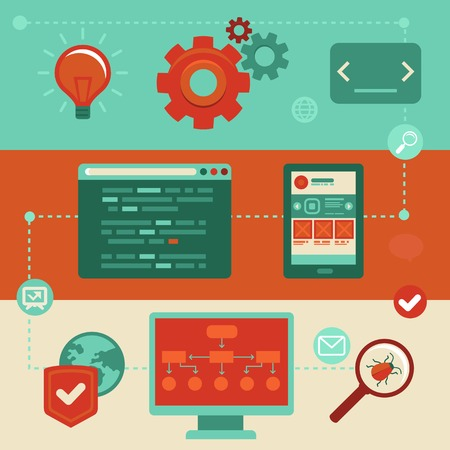 Concepto de vector de estilo plano con iconos de moda - desarrollo de sitios web y codificación. Herramientas y símbolos: programación y creación de prototipos.