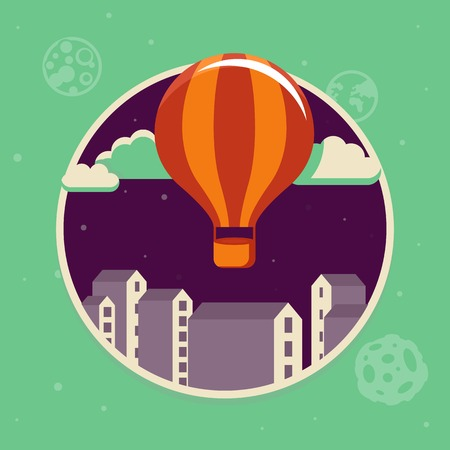 Vector travel concept in flat style - air balloon starting up in the sky Vector