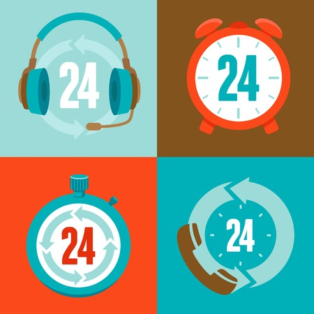 twenty four hour: Twenty four hour support - flat vector icons and signs