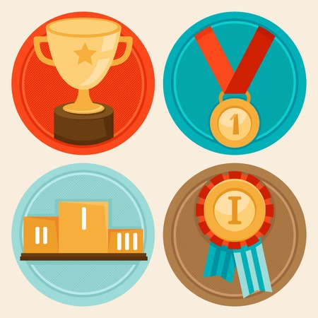 winners podium: Vector achievement badges and emblems in flat style - success concepts and icons Illustration
