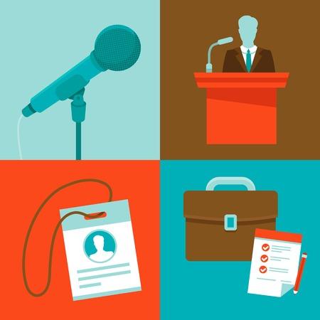 negotiations: Vector conferenc? conceptos de estilo plano - conjunto de iconos - micr�fono, altavoces, insignia y malet�n
