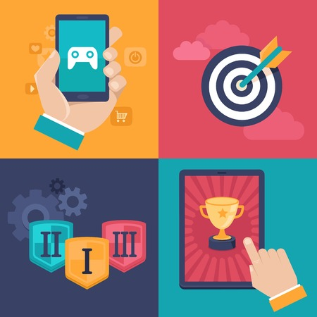 Vector gamification concepts - digital device with touchscreen and game interface on it with award and achievement icons on background Illustration
