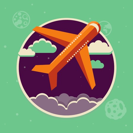 airplane cartoon: Vector travel concept in flat style - plane starting up in the sky