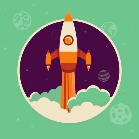 Vector opstarten concept in de vlakke stijl - ruimteschip opstarten in de lucht Stock Illustratie