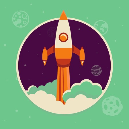 space flight: Vector start up concept in flat style - space ship starting up in the sky