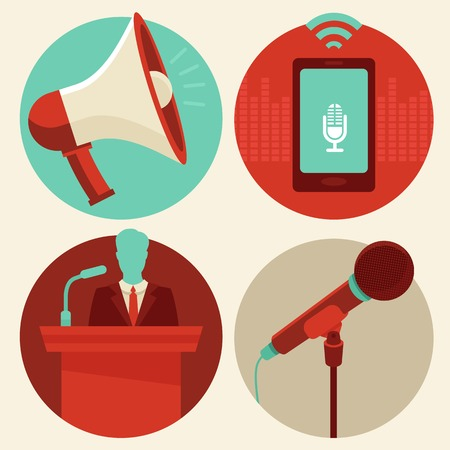 conference speaker: Vector conference icons in flat style - megaphone and microphone, public speaker and mobile phone recording sound