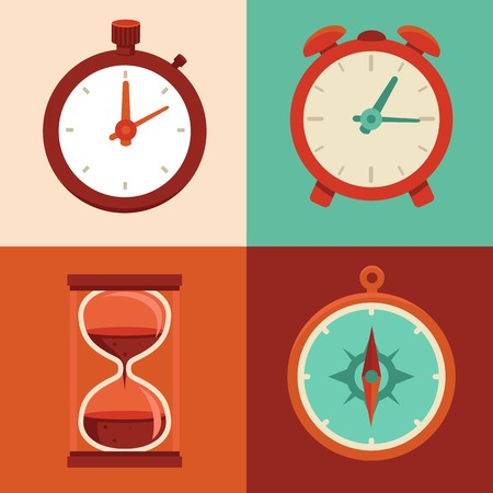 Vector set of flat icons - watch, alarm clock, hour glass and compass Illustration