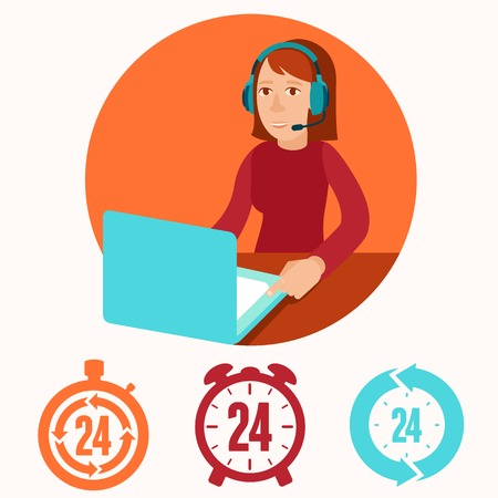 girls talk by phone: Customer support operator - vector character in flat style. Woman with phone headset smiling  and working at her laptop Illustration
