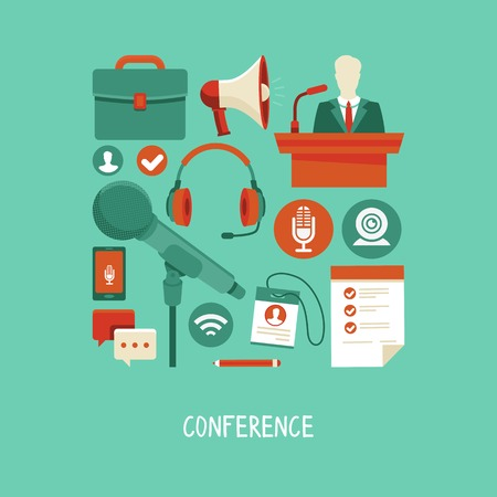 business conference concept in flat style - webinar and online meeting icons and signs Vector