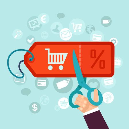 korting en verkoop concept in vlakke stijl - online winkelen en prijs label Stock Illustratie