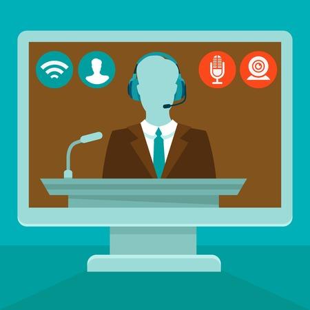 フラット スタイル - セミナーやトレーニング、ウェブ上でオンライン会議コンセプト  イラスト・ベクター素材