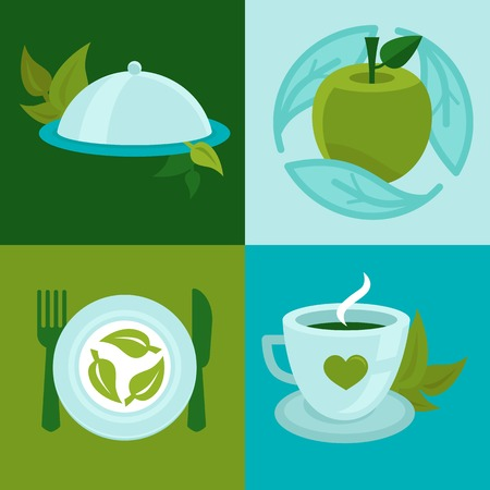 organic food concepts in flat style - vegetarian signs and symbols Vector