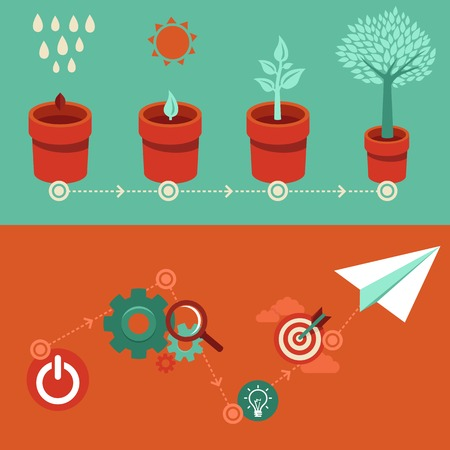 plant pot: growth and start up concepts in flat style - signs and banner - new business Illustration