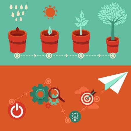 plante: la croissance et le démarrage des concepts de style plat - signes et bannières - nouvelle entreprise