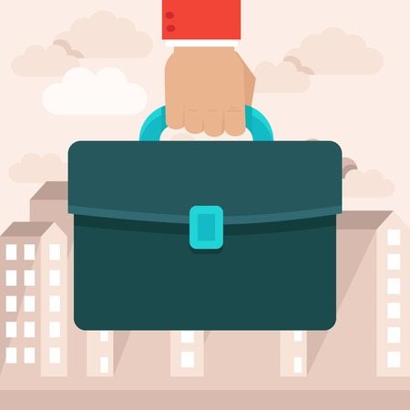 briefcase icon: business concept in flat style - hand holding briefcase on the background with city landscape Illustration