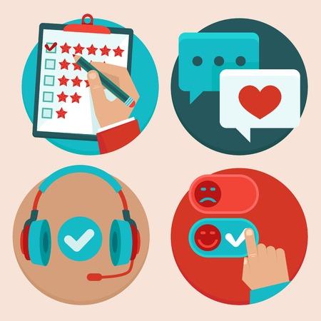 conjunto de servicio al cliente en estilo plano - retroalimentación, encuestas y apoyo Ilustración de vector