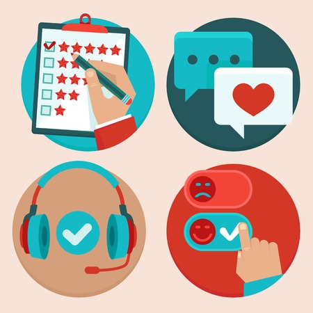 set of customer service in flat style - feedback, survey and support Vector