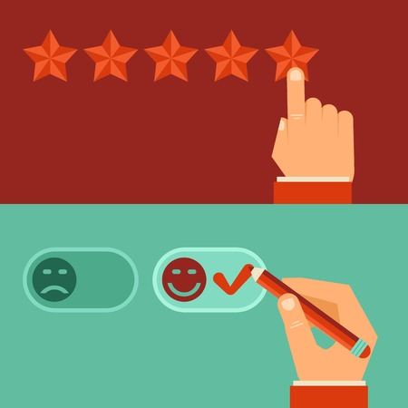 customer review concepts in flat style - male hand choosing positive review Vector