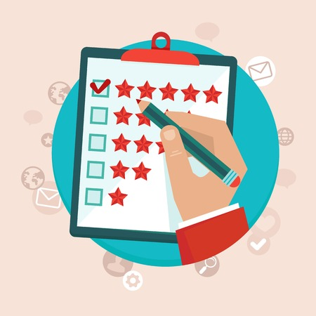 customer feedback concept in flat style - hand checking excellent mark in a survey Çizim