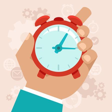 Time management moderne illustratie in vlakke stijl met mannelijke hand houden stopwatch Stock Illustratie