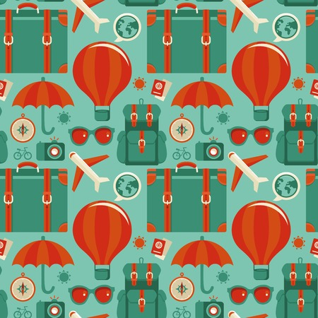 seamless pattern with travel icons in flat style - abstract background Vector