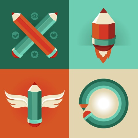 signs and symbols in flat style - pencils and icons - graphic design concepts Vector