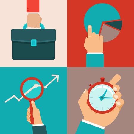 productividad: conceptos de negocios en estilo plana - manos masculinas y objetos de oficina