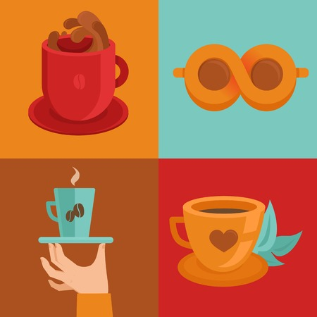 coffee concepts and signs in flat style - cups and mugs with hot drink Vector