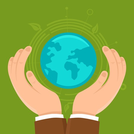 ecology concept in flat style - male hands protecting earth Vector