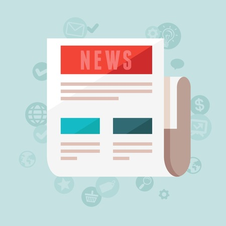 breaking news: news concept in flat style - newspaper and icons Illustration