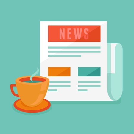 news concept in flat style - newspaper and coffee cup Vector