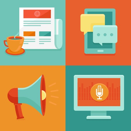 news concepts in flat style - information and media icons - marketing and promotion