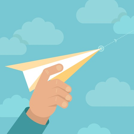 hand holding paper: launching concept in flat style - male hand holding paper plane