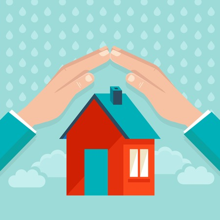 weather protection: house insurance concept in flat style - hands protecting small house