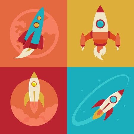 cohetes: iconos de estilo plano - la puesta en marcha y lanzar. Ilustraciones de moda para los nuevos negocios, la innovación y el desarrollo