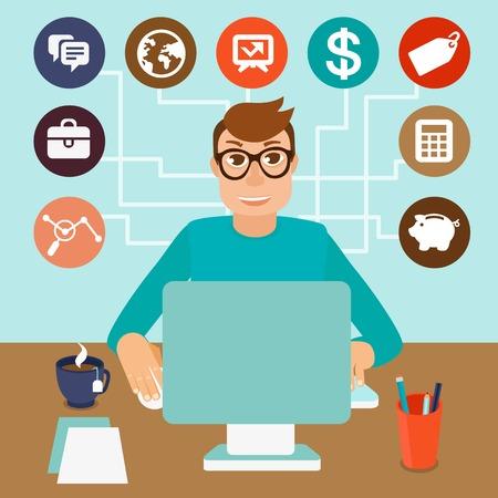 gestion: trabajadores por cuenta propia del hombre en estilo plano - sentado en el equipo y trabajar en proyectos independientes - infografía con los iconos y signos