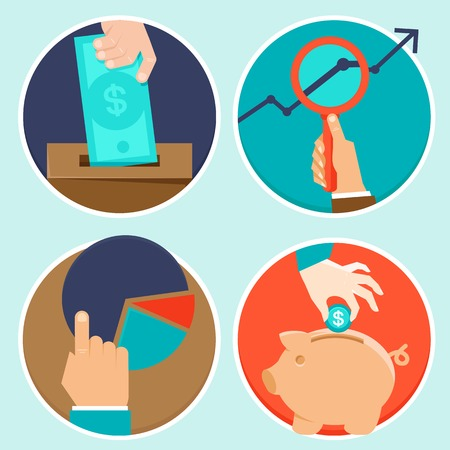 save money: Vector investment and finance concept in fla style - money and business icons Illustration