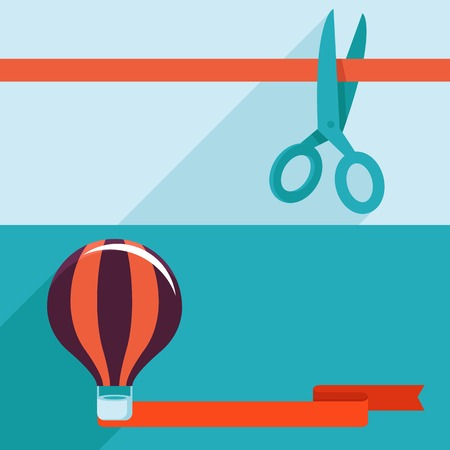 opening and launching concept in flat style - banners with red ribbon and scissors and air balloon Vector