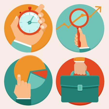 ビジネス コンセプト フラット スタイル - 時間管理、統計、研究
