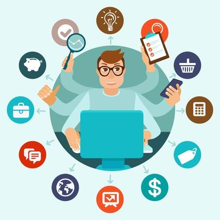 zelfconcept werkgelegenheid in vlakke stijl - multitasking man werkt op verschillende projecten vanuit zijn kantoor aan huis