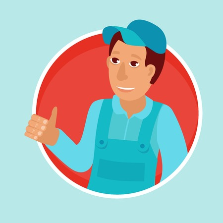 manufactory: mascot in flat style - male worker or plumber in blue clothes and cap