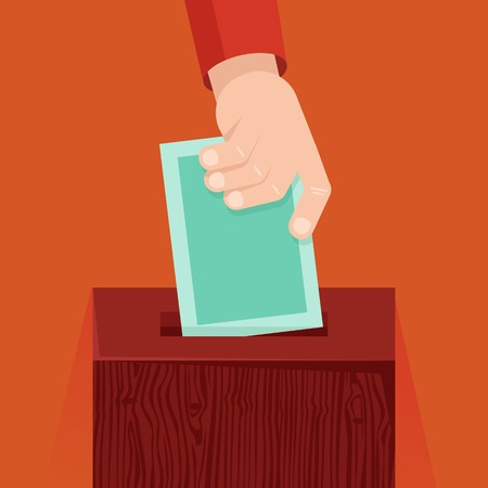 ballot papers: voting concept in flat style - hand putting voting paper in the wooden ballot box