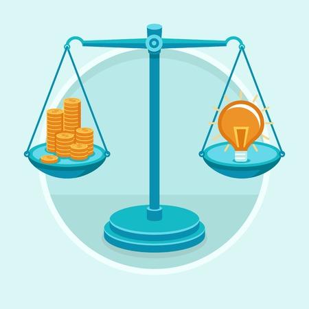 balanza en equilibrio: Idea es dinero - concepto de vector en estilo plano - monedas de oro y la idea sobre la báscula